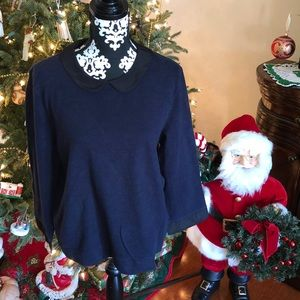 J. Crew blue lightweight top with black trim